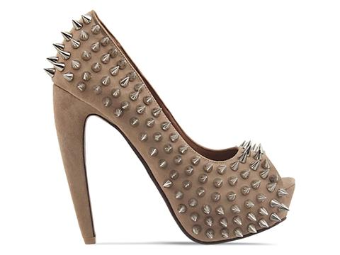 Jeffrey Campbell In Nude Suede Sliver Daring Spike