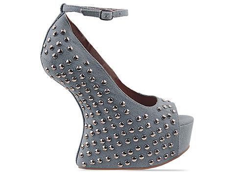 Jeffrey Campbell In Blue Denim Silver Daytime Stud
