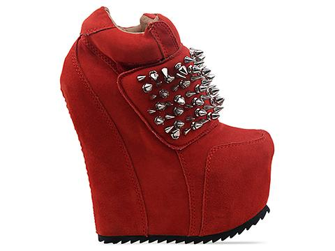 Jeffrey Campbell In Red Suede Silver Dramo Spike