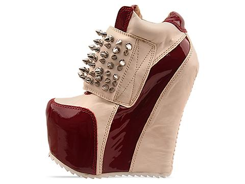 Jeffrey Campbell In Wine Patent Bone Silver Dramo Spike
