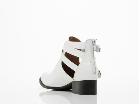 Jeffrey Campbell In White Croco Silver Everly
