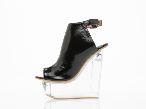Jeffrey Campbell In Black Crinkle Patent Clear Forum
