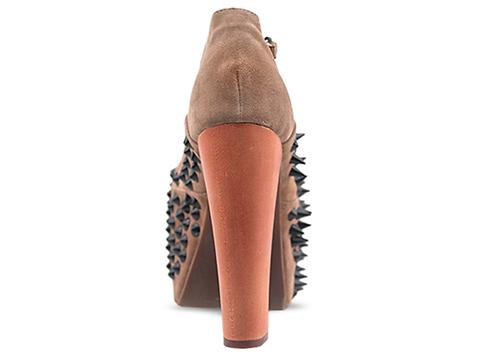 Jeffrey Campbell In Nude Suede Black Foxy Front Spike