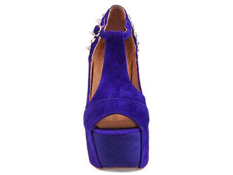 Jeffrey Campbell In Blue Suede Silver Foxy Spike