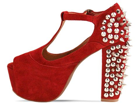 Jeffrey Campbell In Dark Red Suede Silver Foxy Spike