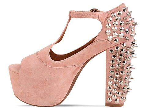 Jeffrey Campbell In Pink Suede Silver Foxy Spike