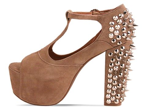 Jeffrey Campbell In Taupe Suede Silver Foxy Spike