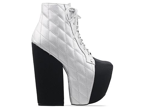 Jeffrey Campbell In Black Silver Freda Quilted