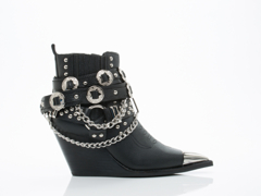 Jeffrey Campbell In Black Grainy Silver Hawthorne