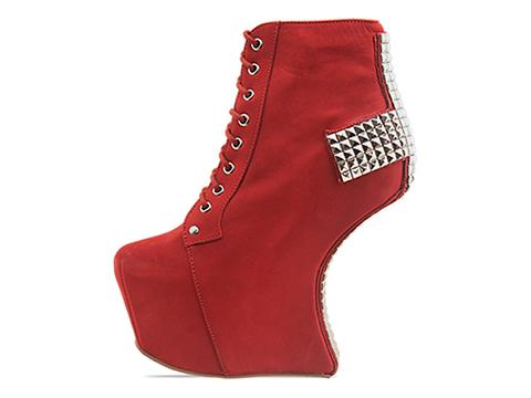 Jeffrey Campbell In Brick Red Nubuck Silver Holy