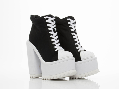 Jeffrey Campbell In Black Canvas White Hoops Hi