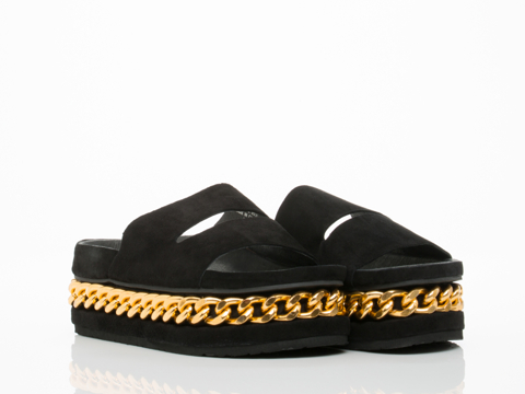 Jeffrey Campbell In Black Suede Gold Jerez Chain