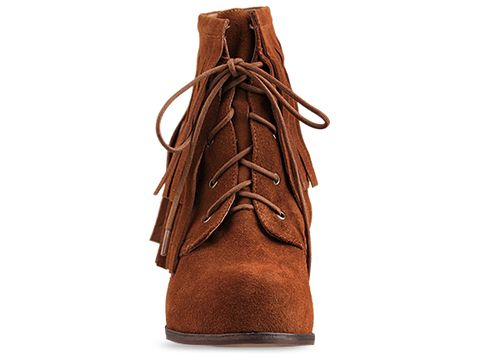 Jeffrey Campbell In Tan Suede Jill Fringe