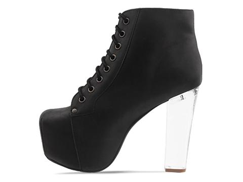 Jeffrey Campbell In Black Washed Clear Heel Lita