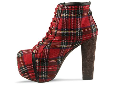 Jeffrey Campbell In Red Tartan Fabric Lita