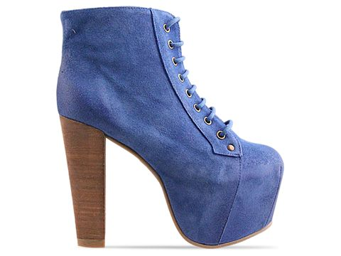 Jeffrey Campbell In Bright Blue Suede Distressed Lita Espana