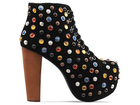 Jeffrey Campbell In Black Suede Multi Lita Jewel
