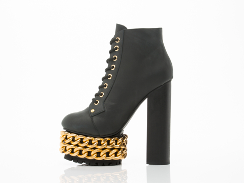 Jeffrey Campbell In Black Gold Lita Large Chain