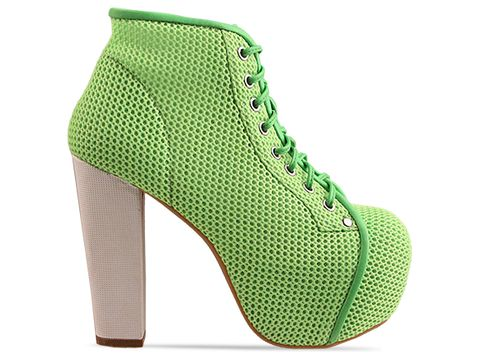 Jeffrey Campbell In Neon Green White Lita Mesh