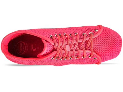 Jeffrey Campbell In Neon Pink Silver Lita Mesh