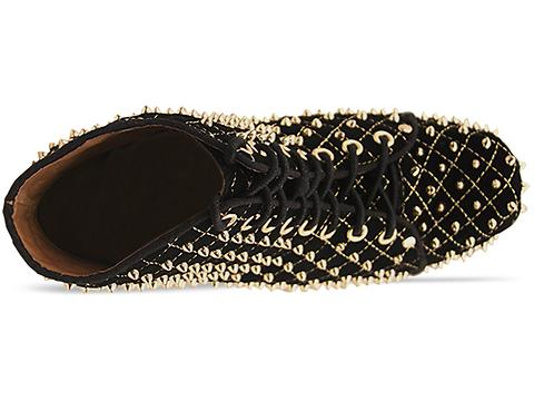 Jeffrey Campbell In Black Suede Gold Lita Quilted