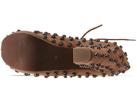 Jeffrey Campbell In Nude Suede Pewter Lita Skull