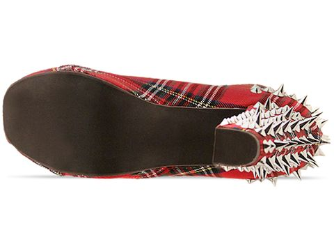 Jeffrey Campbell In Red Plaid Fabric Lita Spike