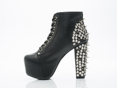 Jeffrey Campbell In Black Silver Lita Spike 2.0