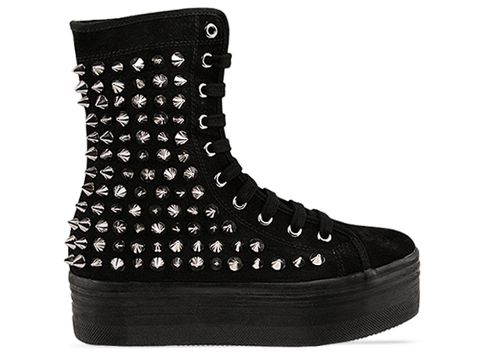 Jeffrey Campbell In Black Suede Silver Lockness Spike