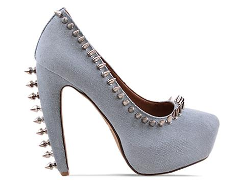 Jeffrey Campbell In Denim Silver Madame Spike