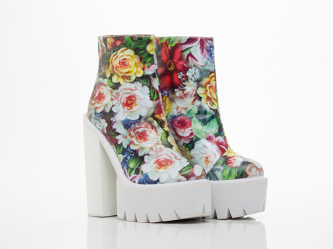 Jeffrey Campbell In Blue Floral White Mulder