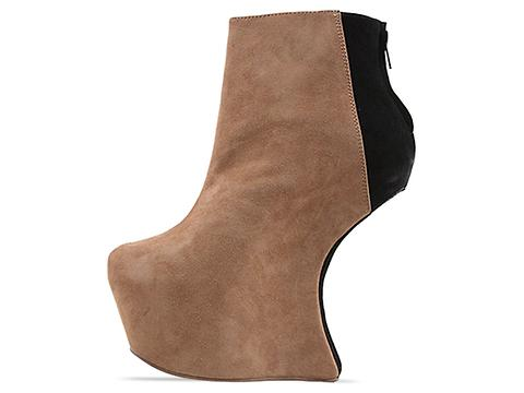 Jeffrey Campbell In Nude Suede Black Suede Nite Mate