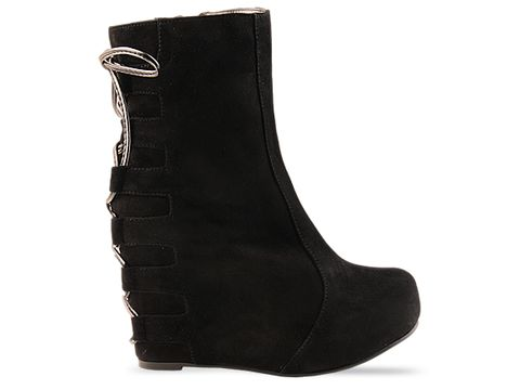 Jeffrey Campbell In Black Suede Pixie Tie High