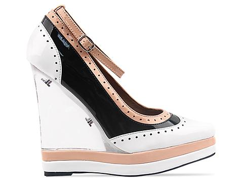 Jeffrey Campbell In Black Nude White Patent Pizan Clear