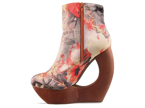 Jeffrey Campbell In Red Grey Yellow Flower Satin Rockaway S