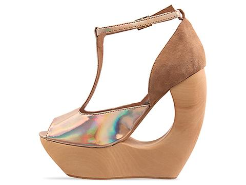 Jeffrey Campbell In Gold Nude Suede Rockslip