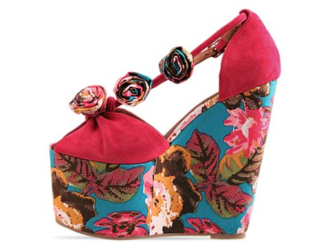 Jeffrey Campbell In Fuchsia Suede Blue Floral Rosi Fab