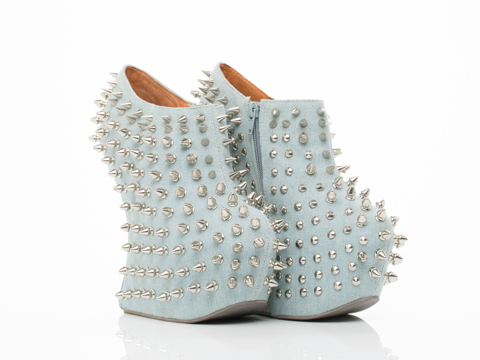 Jeffrey Campbell In Denim Silver Shadow Stud