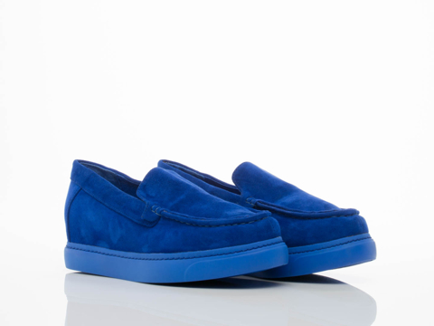 Jeffrey Campbell In Blue Suede Skip Wedge