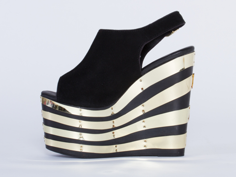 Jeffrey Campbell In Black Suede Gold Snick 2PTO