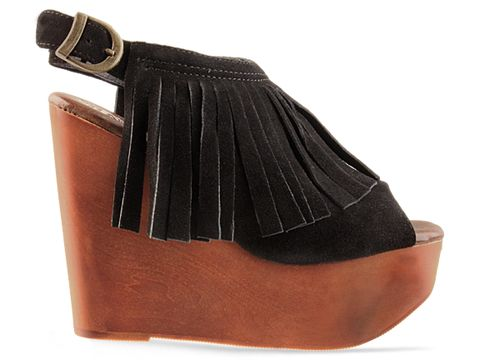 Jeffrey Campbell In Black Suede Snick Fringe