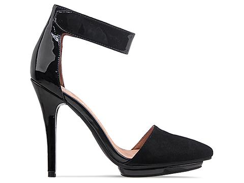 Jeffrey Campbell In Black Suede Black Patent Solitare