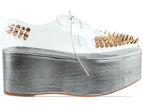 Jeffrey Campbell In Rose Gold Clear Stinger Spike Gold