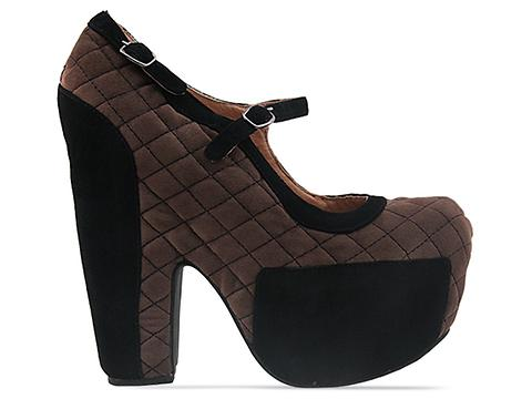 Jeffrey Campbell In Black Suede Brown Suede Stunner