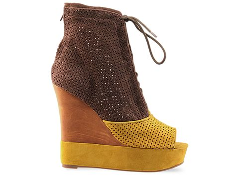 Jeffrey Campbell In Yellow Brown Suede Swing