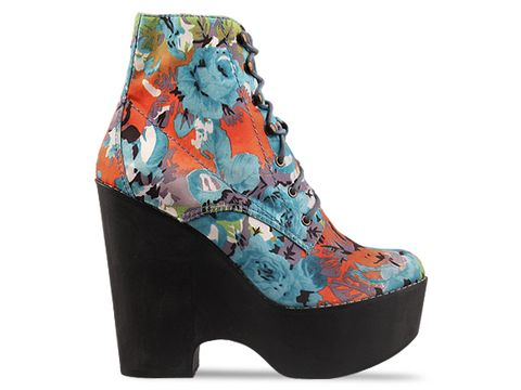 Jeffrey Campbell In Blue Green Red Satin Tardy Fab