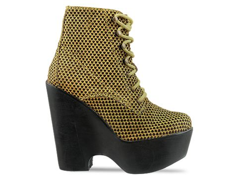 Jeffrey Campbell In Yellow Black Hearts Tardy Fur
