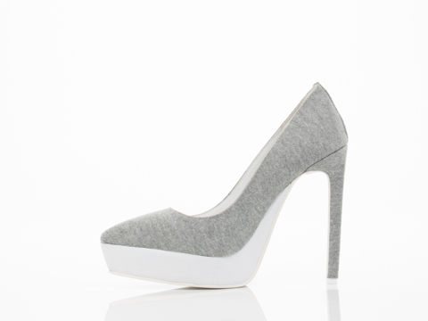 Jeffrey Campbell In Grey Jersey White Tempest