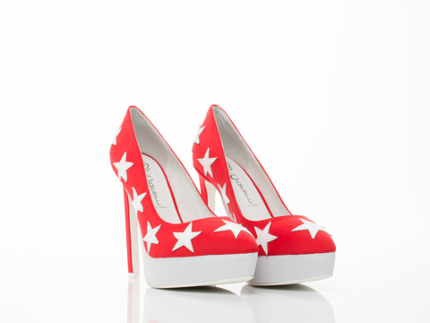 Jeffrey Campbell In Red Neoprene Star White Tempest