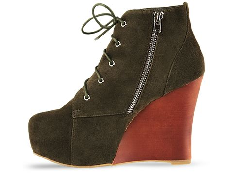 Jeffrey Campbell In Kahki Suede Combo Two Timer
